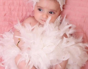 Newborn Baby Feather Headband with Swarovski crystals, Baby Girl Christening Headband, photo prop, Birthday girls, Newborn Hair Accessory