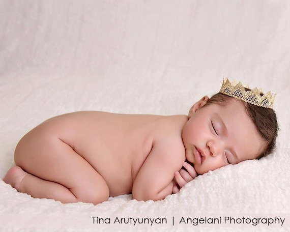 New Born Baby Boy crown, photo prop, christening, baptism, Gold crown, Handmade,Baby boy photography, Infant photo prop, newborn photography