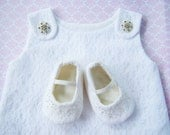 15% OFF 1st Purchase- White Cotton and Lace Baby Dress with Silver Buttons, christening, wedding- made to order