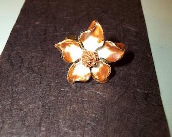 Porcelain Ivory and Brown floral adjustable ring