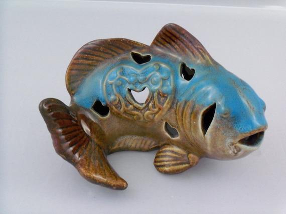 Vintage Ceramic Fish Candle Holder- Blues and Browns- SUPER VINTAGE
