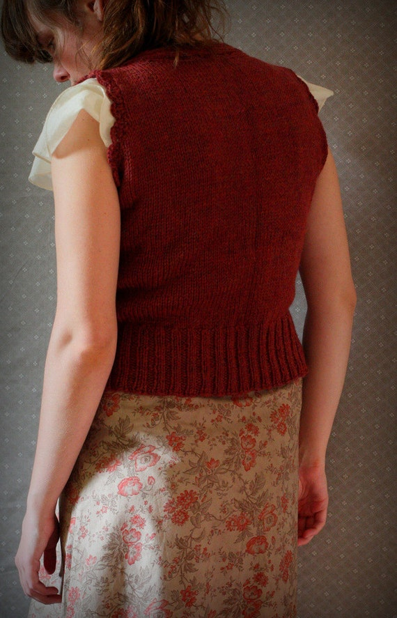 Reserved for Carmen Beatrix -- low cut vest -- hand knit