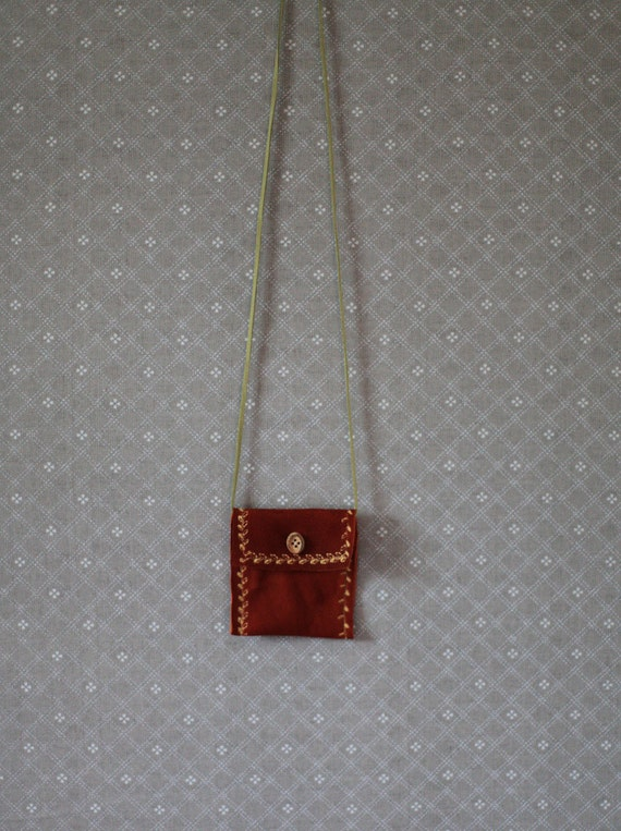 Brown Suede Necklace Pouch