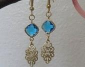 Turquoise blue glass earrings