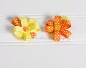 Flower Hair Clips, Orange and Yellow Polka Dots- Set of 2