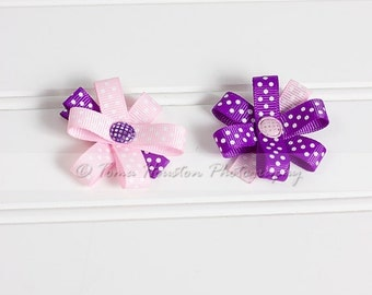 Flower Hair Clips, Pink and Purple Polka Dots- Set of 2