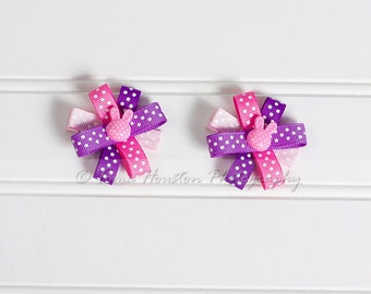 Flower Hair Clips, Pink and Purple, Polka Dots, Bunny- Set of 2