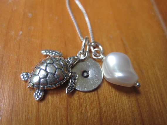 Sea turtle charm necklace with sterling silver hand stamped initial charm, sea turtle charm and wire-wrapped Swarovski pearl bead