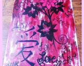 Love's Flowers-Dark Red, Black & Pink Acrylic Distressed Painting with Chinese Love Symbol