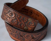 Leegin tooled leather belt blank ready for YOUR name. Made in the USA. Size 28 with eagles and mountains and awesomeness.