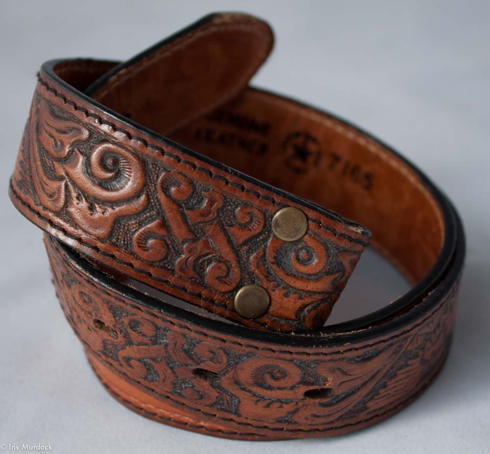 leegin tooled leather belt blank ready for your name made in
