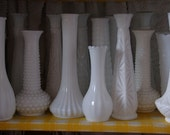 Milk Glass bud vases Set of 6 vintage shabby chic french country wedding shower party decor instant collection