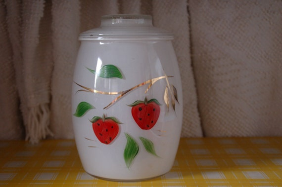 Vintage Glass Cookie Jar retro kitchen decor with painted strawberries