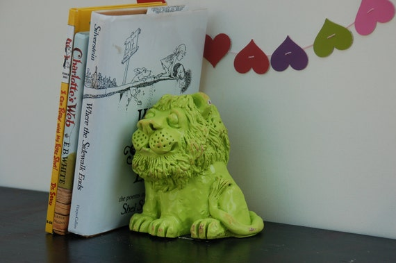 Tiny Home Designs: Upcycled Bookends Painted Lime Green Lion By Lollipopfigurine