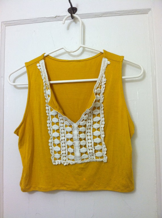 Cropped Mustard Yellow Top Size Small