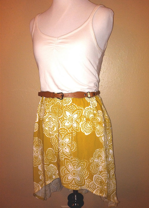 Mustard Yellow High Low Skirt Size Small