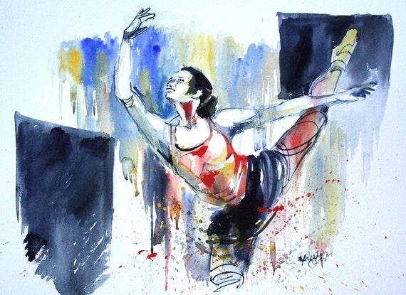 "Original Watercolor Painting Ballerina Dancer Wall Art/Decoration12""X16"" by Kristin Glaze"