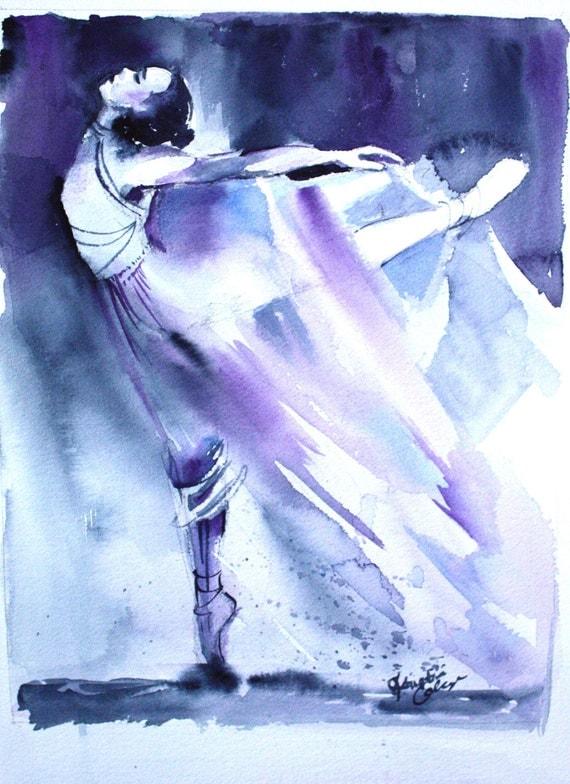 "Original Watercolor Painting Purple Ballerina Dancer Wall Art/Decoration 8""X11"" by Kristin Glaze"