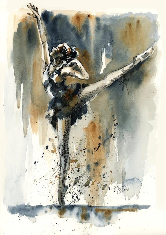 Original Watercolor Painting Ballerina Dancer Wall