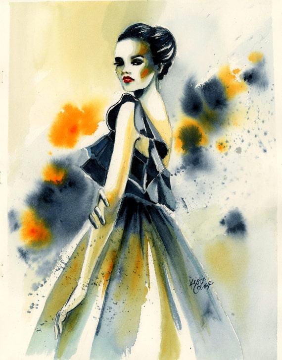 "Original Watercolor Painting High Fashion Illustration Wall Art/Decoration 11""X14"" by Kristin Glaze"