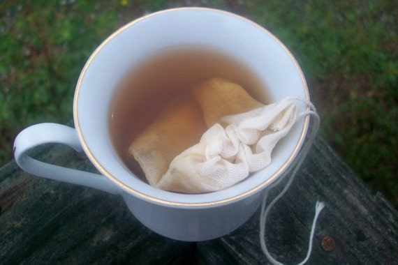 2 Organic Cotton and Hemp Reusable, Washable Tea Bags - for loose tea or spices