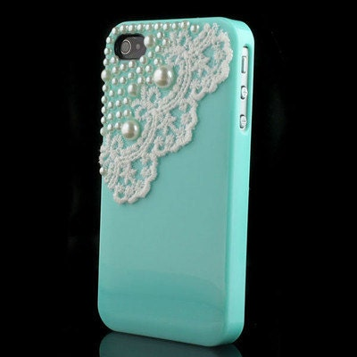tiffany iphone case iphone 4 4s blue pearls and lace 13104