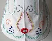 Handmade Embroidered White Half Apron