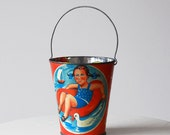 Vintage Tin Toy Sand Pail Red Lithographed 1970s