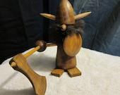 Vintage Danish Teak Figurine Viking