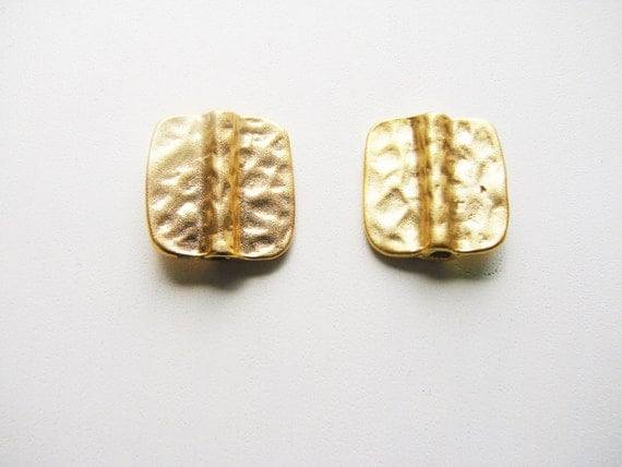 2 hammered gold plated charms
