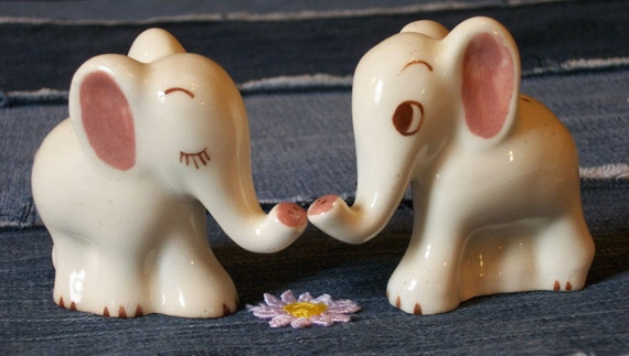 Pink and white cute elephant couple salt and pepper shakers