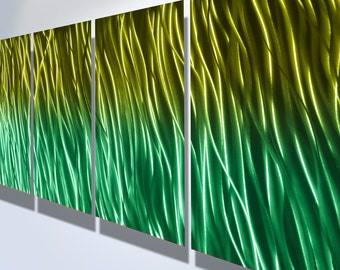 Metal Wall Art Aluminum Decor Abstract Contemporary Modern Sculpture Hanging Zen Textured - Reef