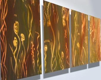 Metal Art Wall Art Decor Abstract Aluminum Contemporary Modern Sculpture Hanging Zen Textured - Flow