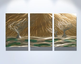 Metal Wall Art Aluminum Decor Abstract Contemporary Modern Sculpture Hanging Zen Textured - 3 Trees 3 panel