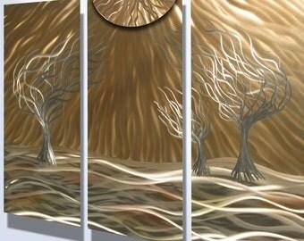 """Metal Wall Art Aluminum Decor Abstract Contemporary Modern Sculpture Hanging Zen Textured - 3 Trees 36"""""""