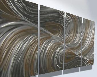 Metal Wall Art Aluminum Decor Abstract Contemporary Modern Sculpture Hanging Zen Textured - Echo Bronze