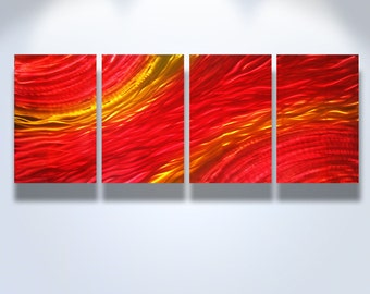 Metal Art Wall Art Decor Abstract Contemporary Modern Aluminum Sculpture Hanging Zen Textured - Sunset