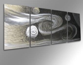Metal Art Wall Art Aluminum Decor Abstract Contemporary Modern Sculpture Hanging Zen Textured - Winds Clear