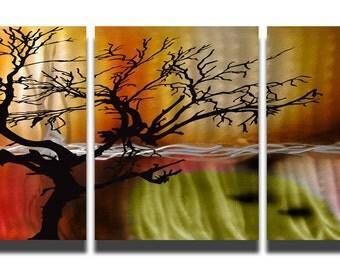 Metal Art Wall Art Aluminum Decor Abstract Contemporary Modern Sculpture Hanging Zen Textured - Tree in Silhouette 3 panel
