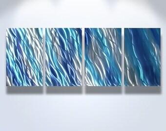 Metal Wall Art Decor Aluminum Abstract Contemporary Modern Sculpture Hanging Zen Textured water - Reef Blue 2