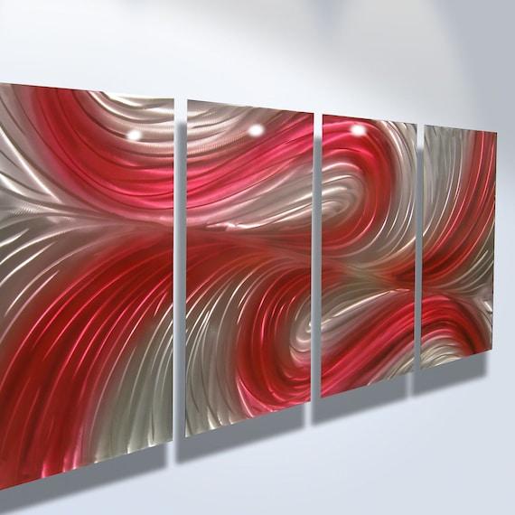 Red Wall Decor Art : Metal wall art aluminum decor abstract contemporary modern
