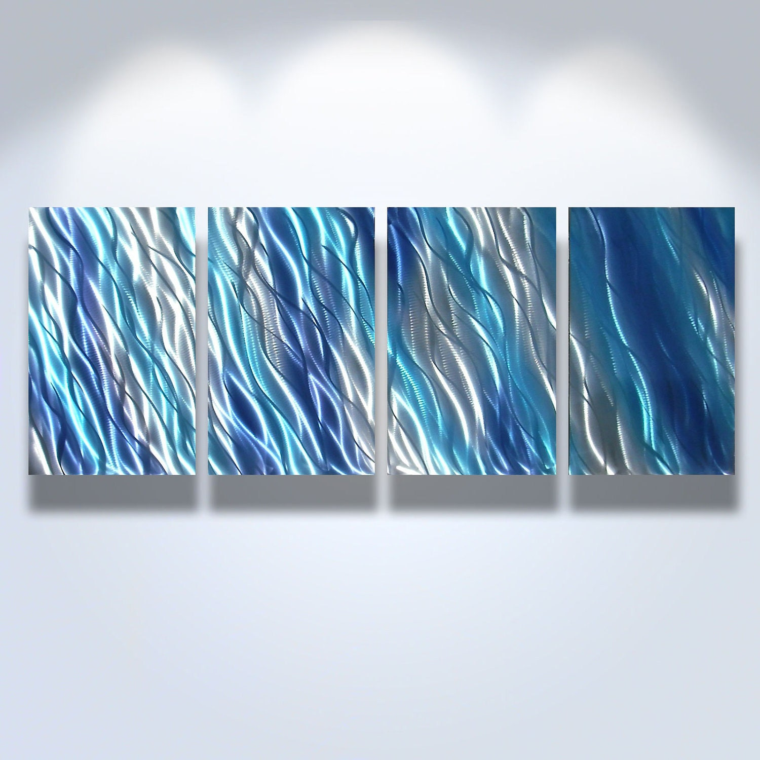 Metal Wall Art Decor Abstract Contemporary Modern Sculpture Hanging Zen Textured water - Reef Blue 2