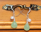 """Natural Green Quartz Rain Drop with FreshWater Pearl Sterling Silver Dangle Earrings. Faceted Natural Gemstone. Wire Wrapped.""""Western Style"""""""