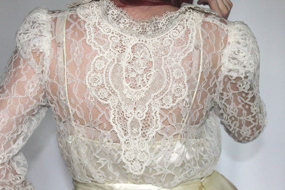 SALE 38.99 WAS 43.99 Sheer White Lace Victorian/Edwardian Dress