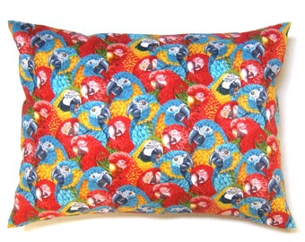 Parrot birds macaw  red blue yellow pillow case pillow cover