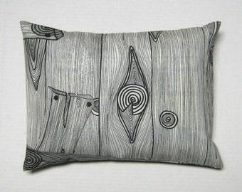 IKEA Monalis canvas decorator pillow cover in black and white woodgrain 12 x 16