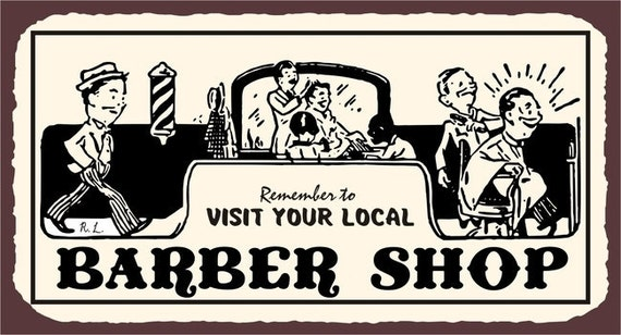 Visit Your Local Barber Shop Laundry Room by vintagemetalart