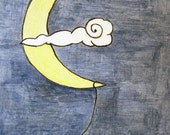 Moon and star illustration, original watercolor of a star hanging from the moon