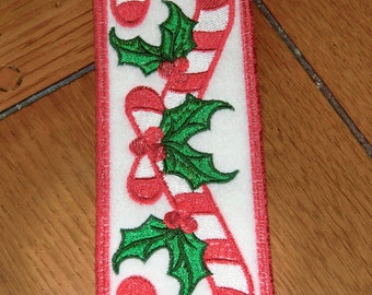 Embroidered Bookmark - Candy Canes