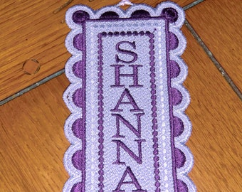 Embroidered Bookmark Personalized